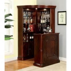 corner bar furniture furniture of america myron traditional corner home bar in