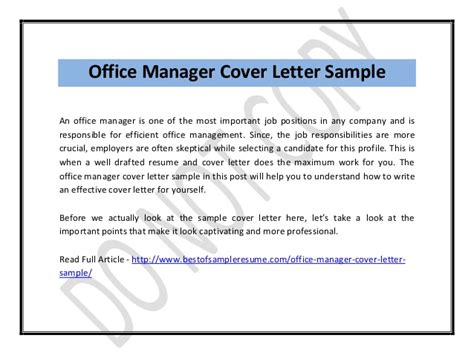 cover letter office manager office manager cover letter