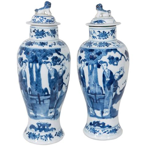 Blue And White Vases Antique by Pair Of Blue And White Antique Porcelain Covered