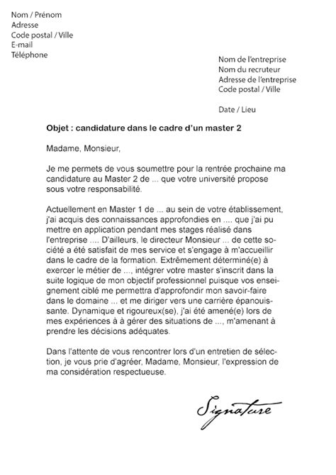 Exemple Lettre De Motivation Ecole De Commerce Master Lettre De Motivation Master 2 Mod 232 Le De Lettre