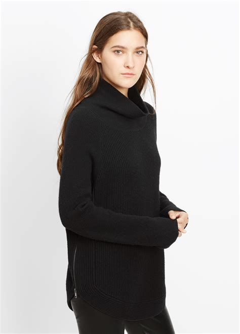 Turtle Neck Two Zipper lyst vince ribbed turtleneck sweater with side zippers