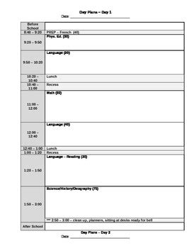 day plan template for teachers 5 day rotary day plan template by canadian tpt