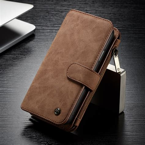 luxury magnet leather removable wallet zipper cover for iphone x 6 7 8 plus ebay