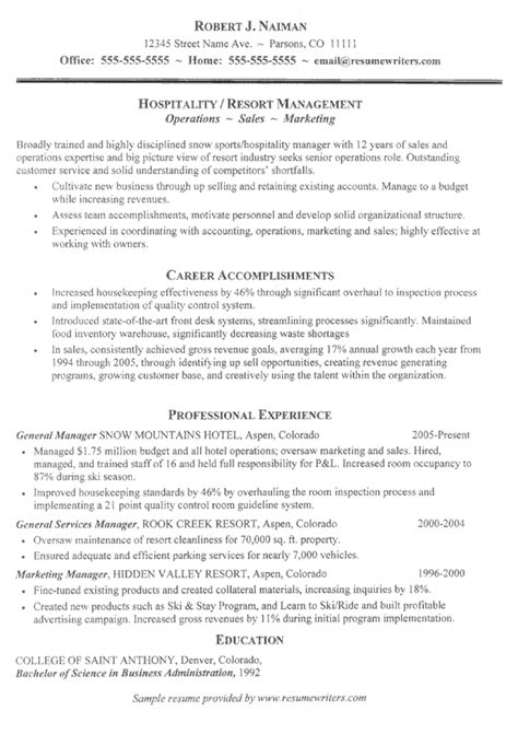 resume template hospitality industry resume sles for hospitality industry hospitality