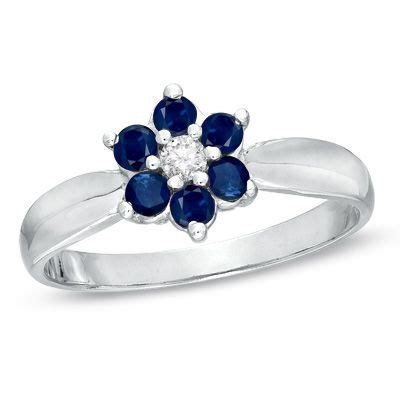 Blue Diamond Flower Ring - blue sapphire and diamond accent flower ring in 14k white gold