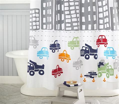 boys transport curtains transportation shower curtain pottery barn kids