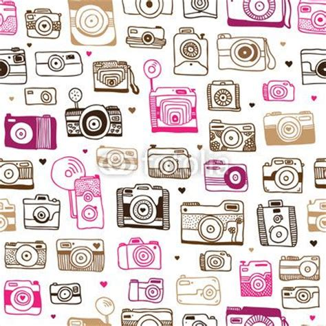 girly doodle wallpaper seamless photo camera doodle pattern in vector cute