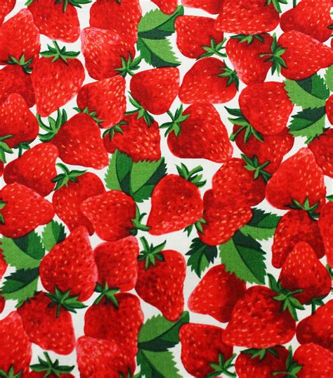 Novelty Quilting Fabric by Novelty Quilt Fabric Strawberries Realistic Jo
