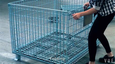 Kontainer Lipat Medium Folding Container Box Multifungsi foldable wire pallet mesh cage container with wheel roll containers save f beli