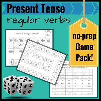 present tense regular verbs  spanish  review  prep game pack