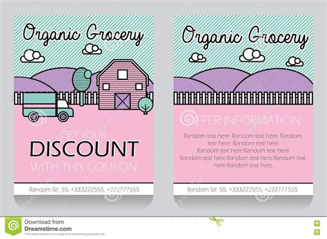 in store printable vouchers grocery themed gift voucher template stock vector image