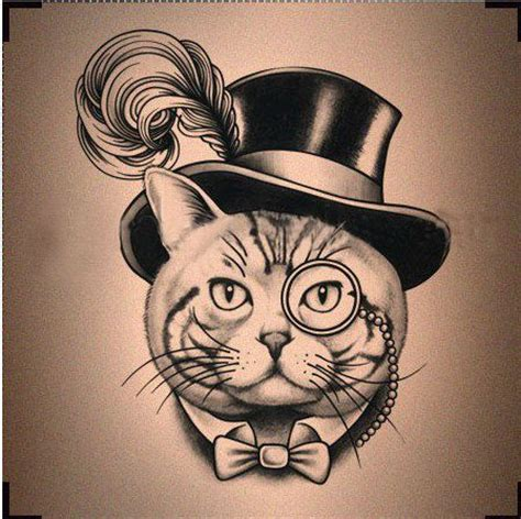 cat tattoo top hat hat patterns feathers and steunk on pinterest
