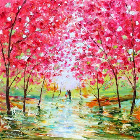 spring paint large original oil painting spring romance landscape palette