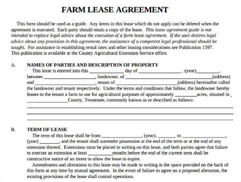 farm rental agreement template 10 sle basic lease agreement templates sle templates