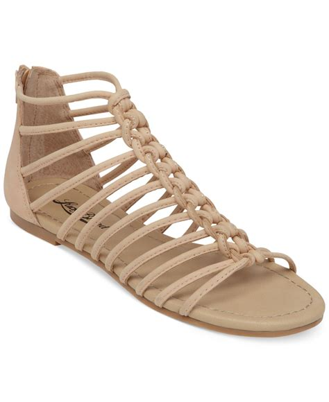 caged sandals flat lucky brand casmett strappy caged flat sandals in