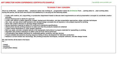 Experience Letter With Description Director Work Experience Certificate