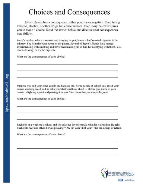 Detox Handout by Printable Worksheets