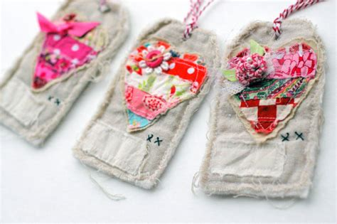 Fabric Tags For Handmade Gifts - handmade fabric tags set of 3 fabric