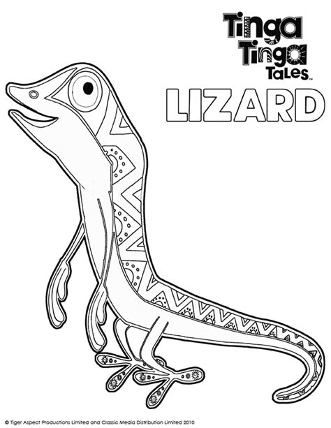 tinga tinga tales black and white picture of lizard