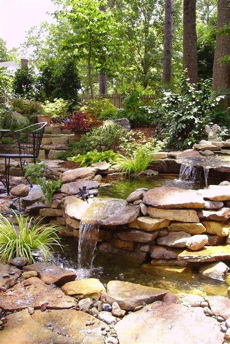 rock waterfalls for gardens top 17 brick rock garden waterfall designs start an