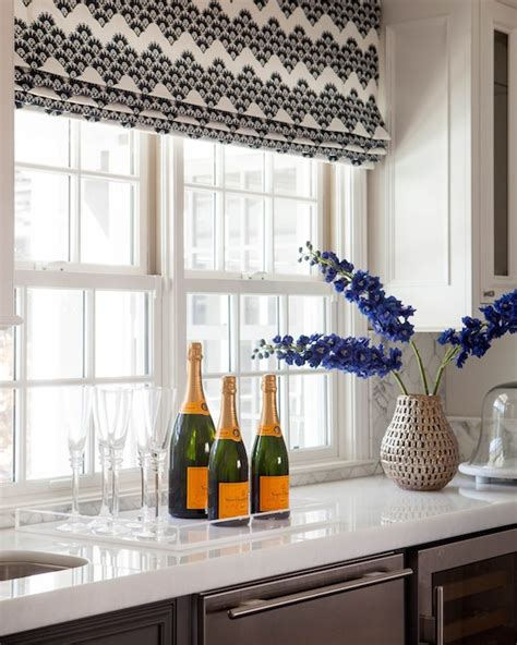 black patterned roman shades black and white print roman shade transitional kitchen