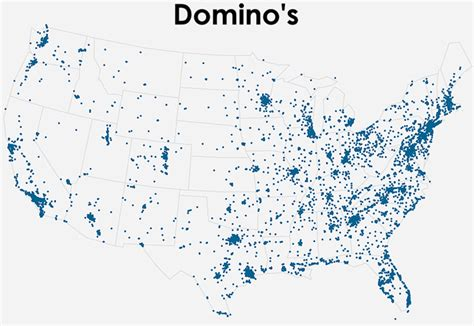 domino pizza map infographics how papa john s and domino s stack up across