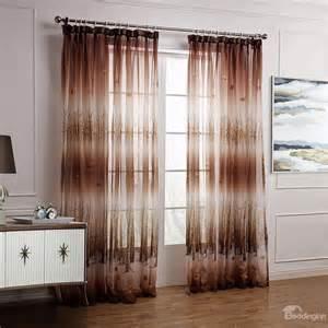 Custom Sheer Curtains Fantastic Brown Leaves And Forest Printing Custom Sheer