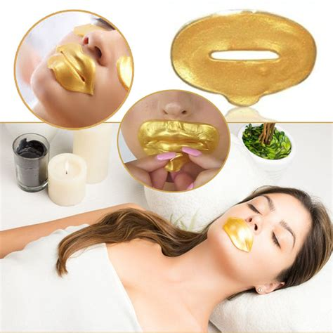 Gold Collagen Lip Mask 24 k gold collagen anti aging lip mask for plumper