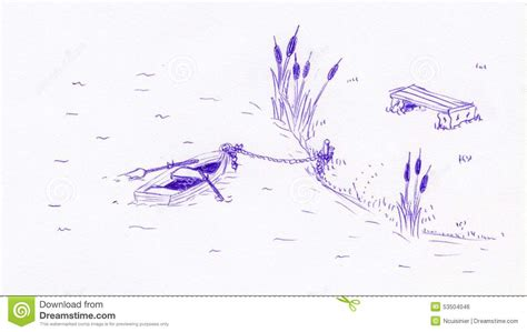 small boat sketch small boat in a pond penball sketch stock illustration