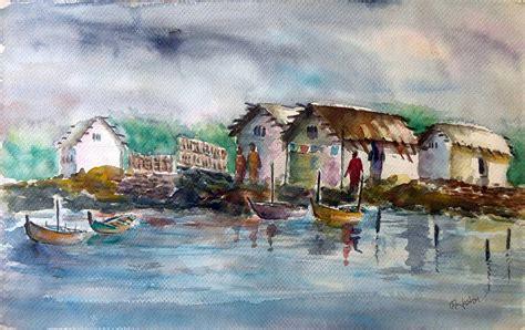 biography of artist hashem khan river bank 2 painting by hashim khan
