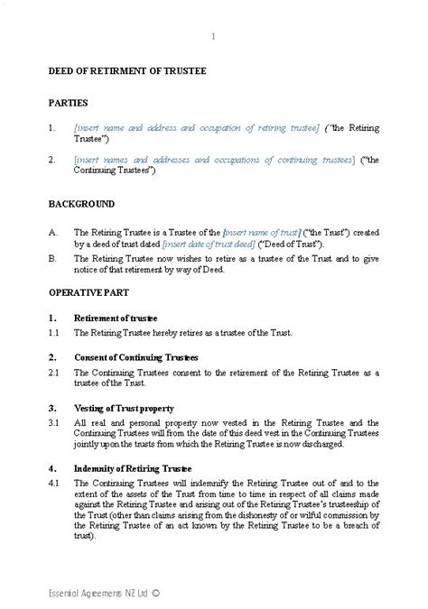 Trustee Resolution Template 18 wills template ohio living will power of
