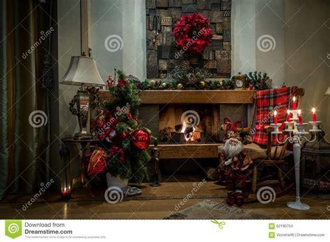 next home christmas decorations romantic fireplace and christmas decorations at home stock