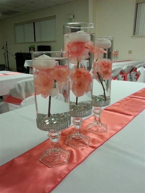coral centerpieces sweet sixteen quinceanera or wedding