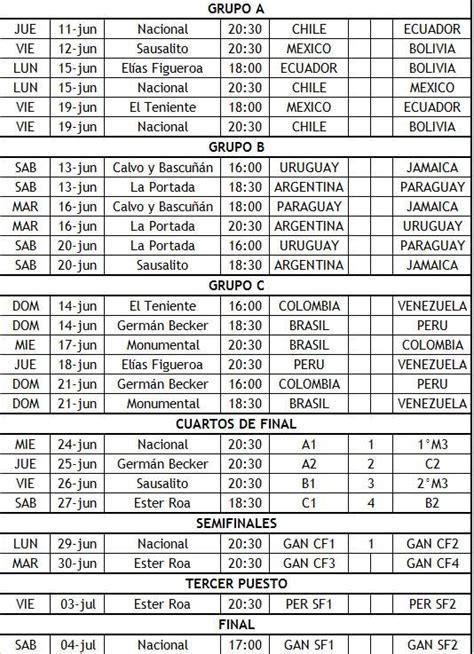 printable schedule copa america 2015 2015 copa am 233 rica