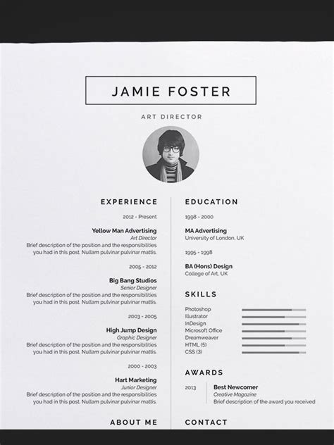 Awesome Resume Templates by 50 Awesome Resume Templates 2016