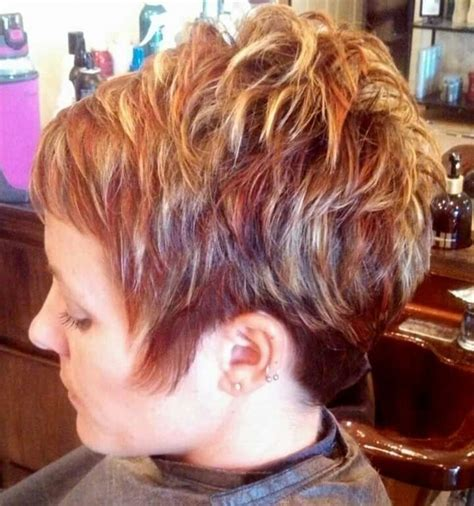 highlights in very short hair womens short hair cut with red and blond highlights