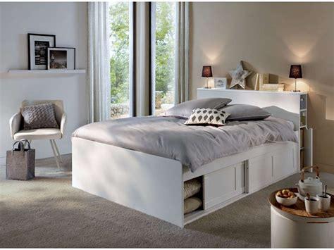 lit chambre adulte lit adulte 140x190 cm belem coloris blanc vente de lit