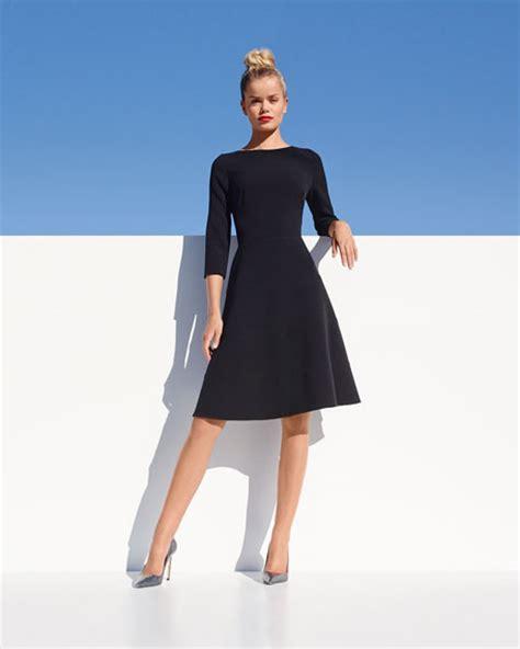 boat neck dress with 3 4 sleeves lela rose 3 4 sleeve boat neck a line dress black