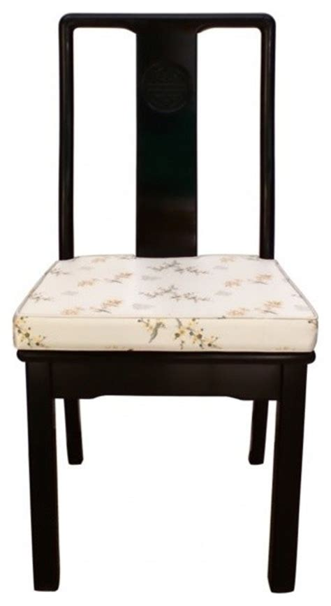 solid rosewood oriental side chair  cushion