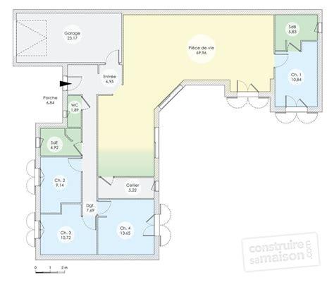 plan maison plain pied en l 4 chambres plan maison contemporaine plain pied 4 chambres maison