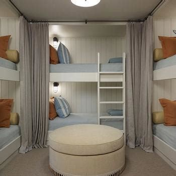bedrooms gray tongue and groove walls gray drapes framing bed charcoal gray tufted linen bed built in bunk beds cottage boy s room hickman design