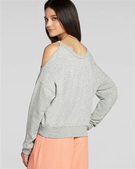 Cold Shoulder Sweatshirt bcbgeneration sweatshirt cold shoulder in gray lyst