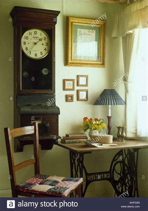 corner sewing machine table antique wall clock above quot singer quot sewing machine table
