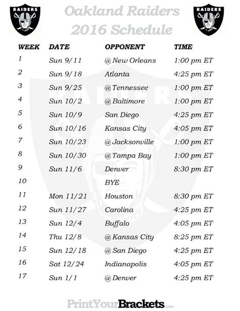 printable raiders schedule 2015 25 best ideas about oakland raiders football schedule on