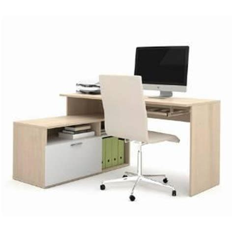 l shaped compact sustainable computer desk in white