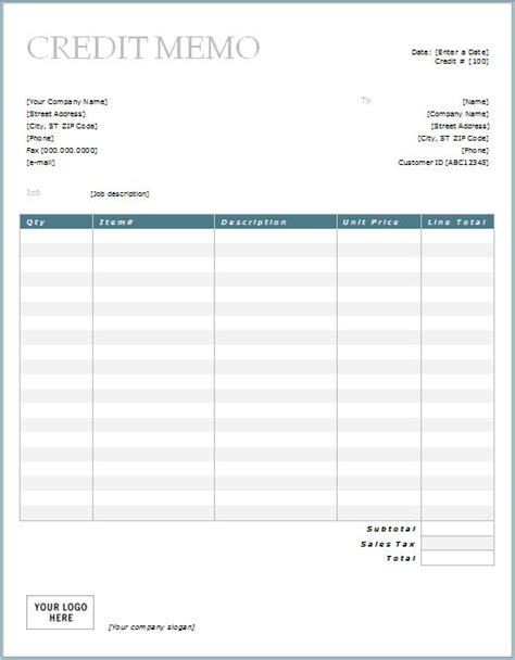 credit invoice template credit memo with blue border design
