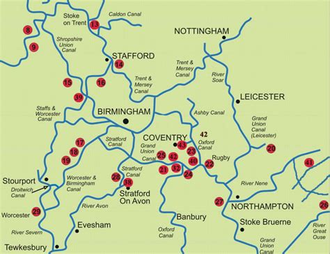 map of central uk map of the canals and waterways of central