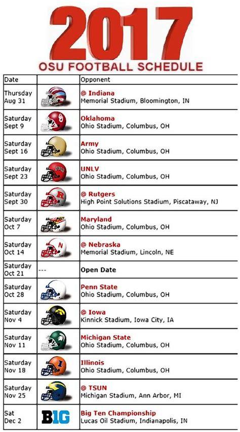 Ohio State Football Schedule 2017 Printable ohio state football schedule 2017