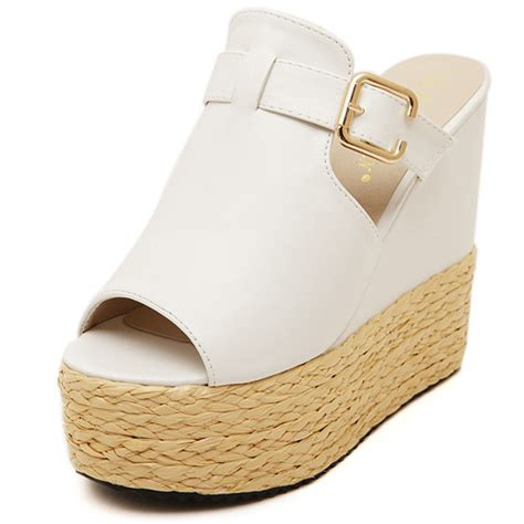 cheap fashion high wedge white pu slides sandals