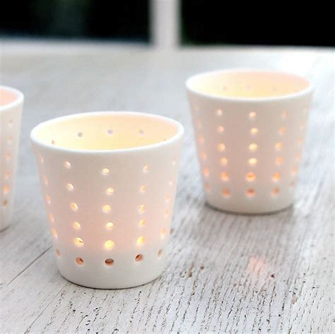 tea light holder white ceramic tea light holder by red lilly